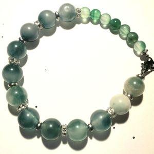 Stretch 6mm and 10mm jade and swarovsky bracelet